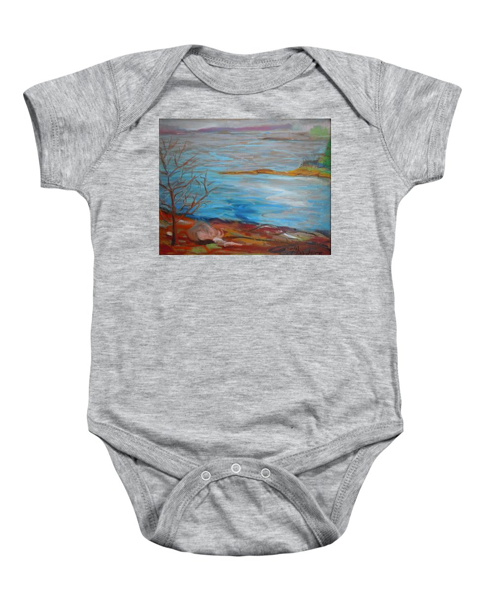 Landscape Baby Onesie featuring the painting Misty Surry by Francine Frank