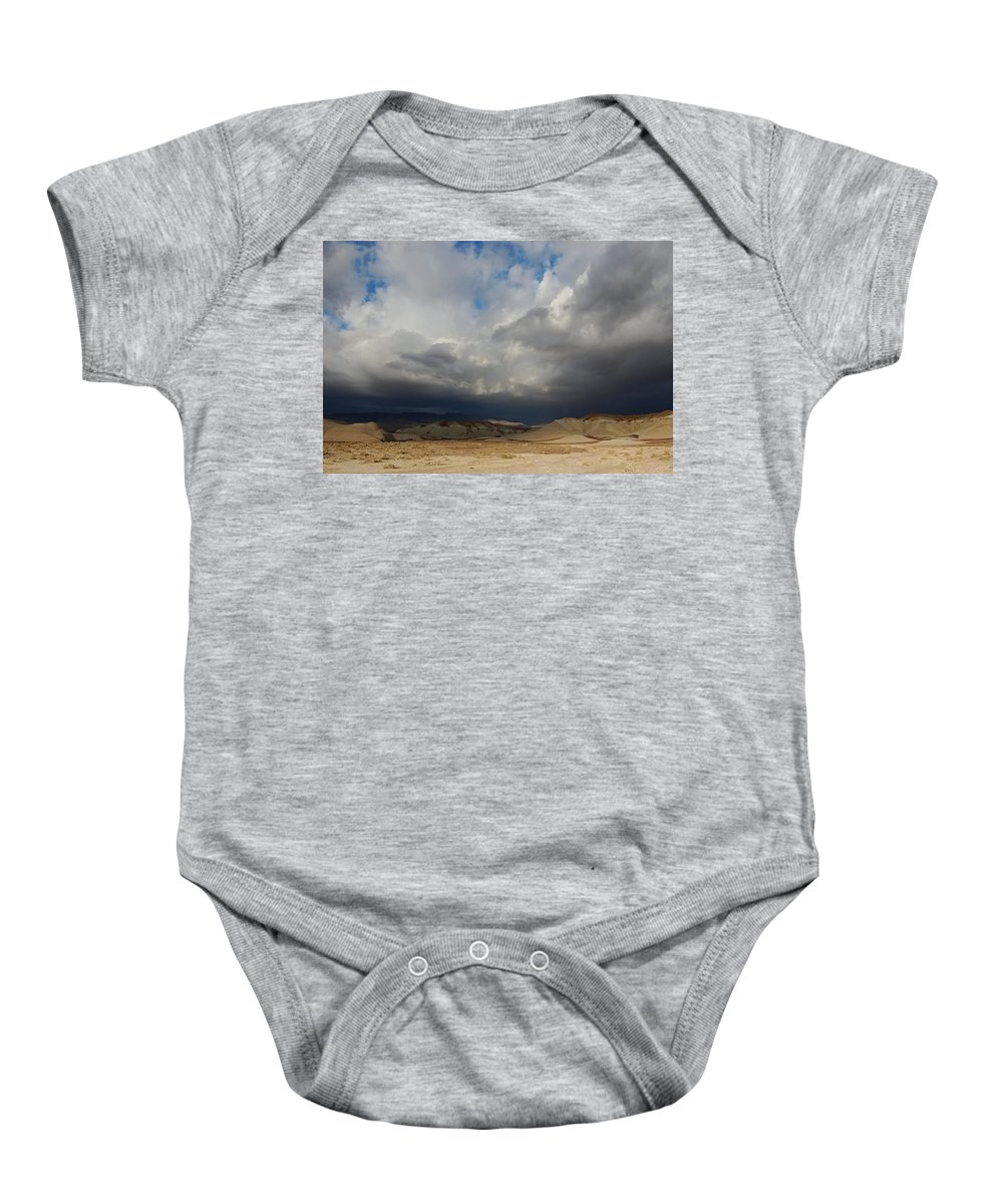 Mojave Storm Baby Onesie featuring the photograph Mojave Storm by See My Photos