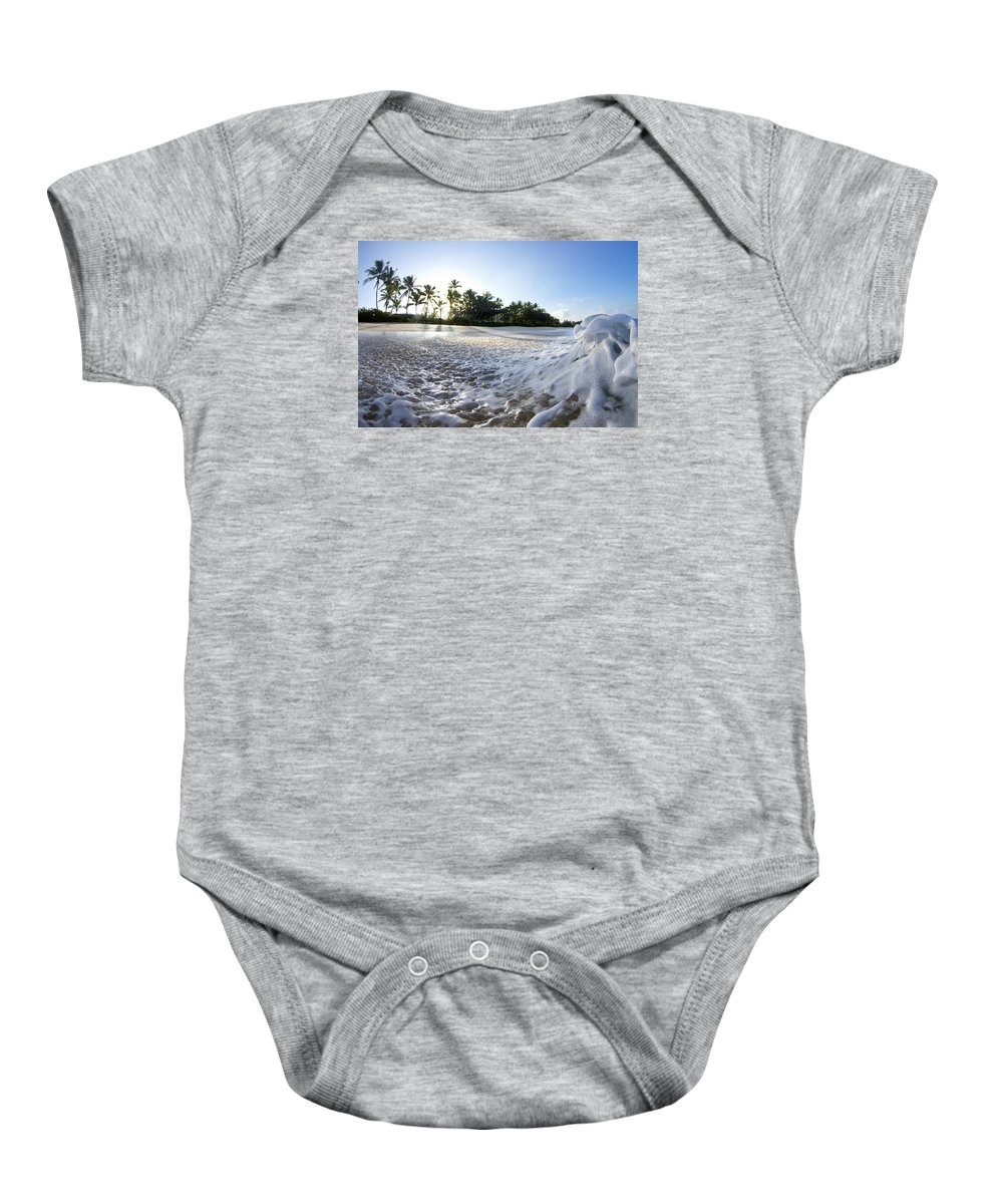 Sea Wave Energy Baby Onesie featuring the photograph Momentary Foam Creation by Sean Davey