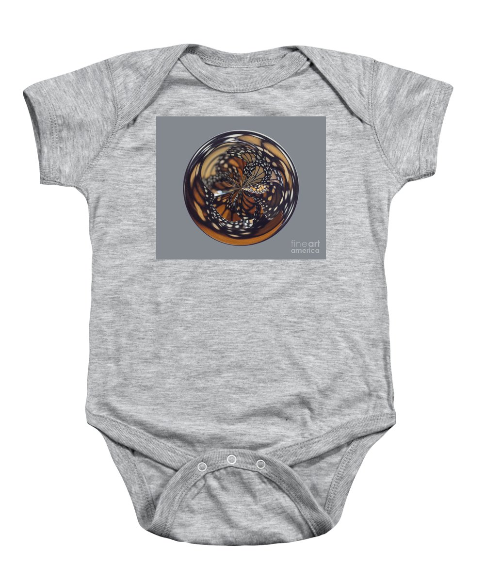 Orb Baby Onesie featuring the photograph Monarch Butterfly Abstract by Darleen Stry