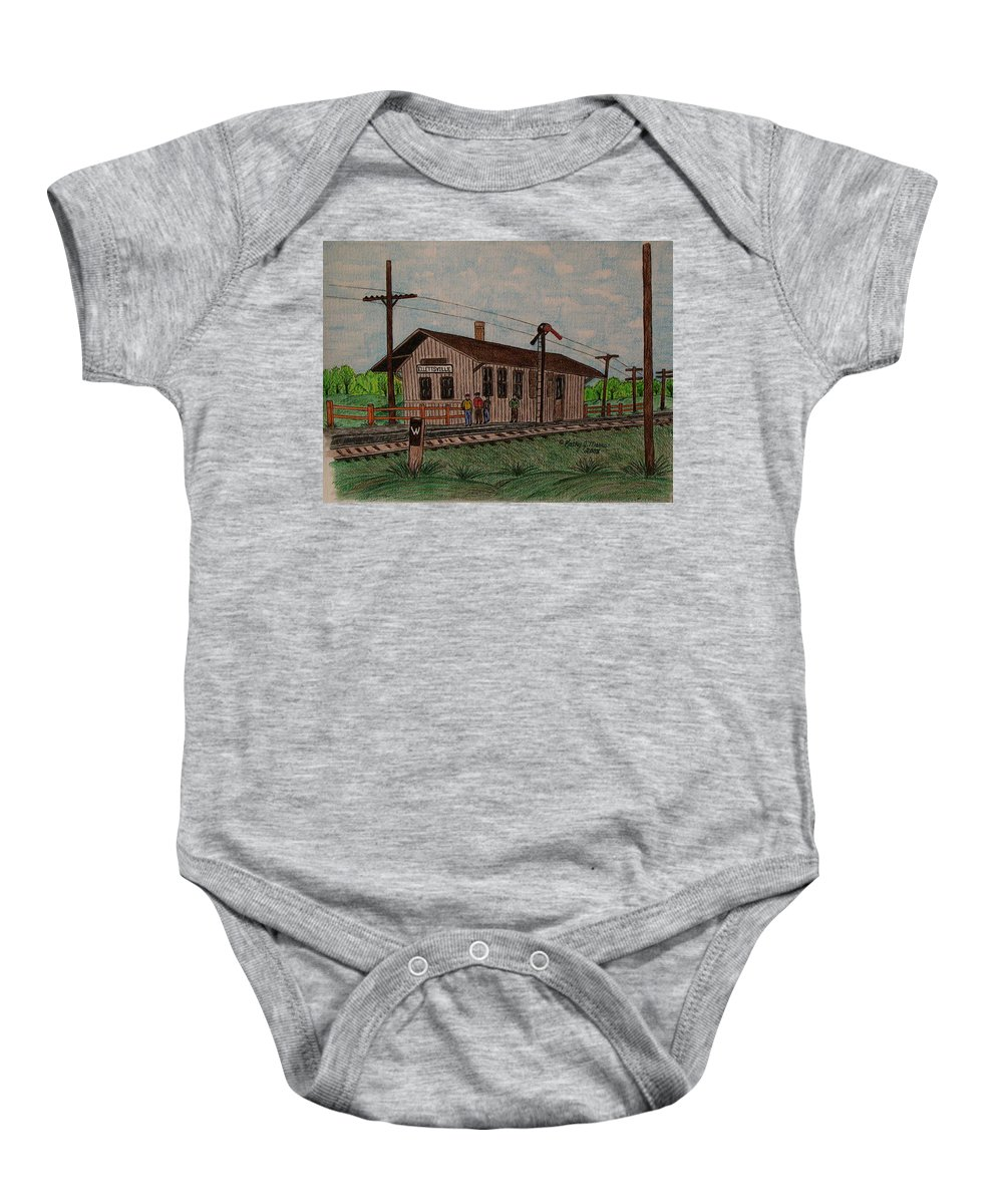 Monon Baby Onesie featuring the painting Monon Ellettsville Indiana Train Depot by Kathy Marrs Chandler