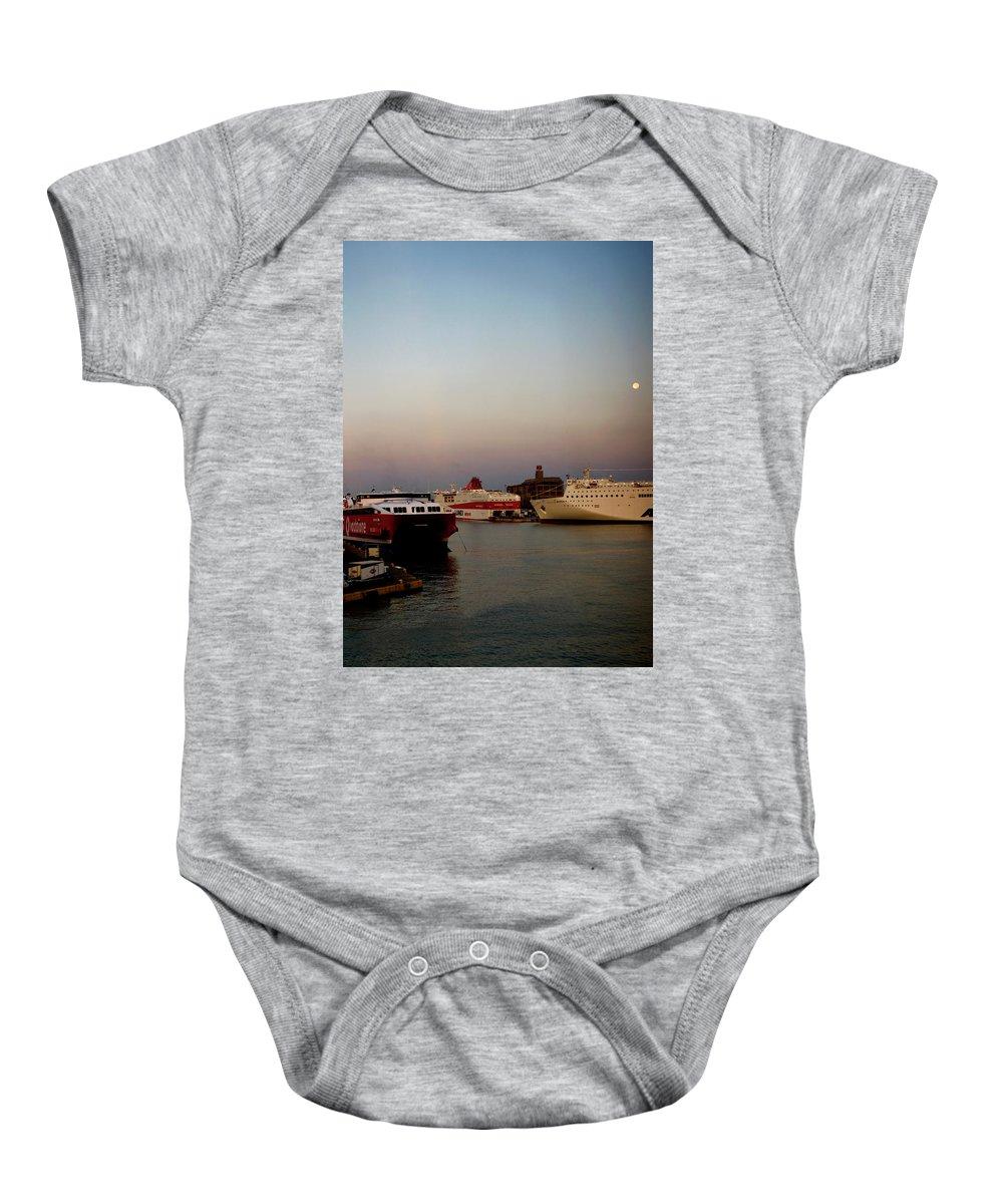 Piraeus Port Baby Onesie featuring the photograph Moon Over Piraeus Port by Lorraine Devon Wilke