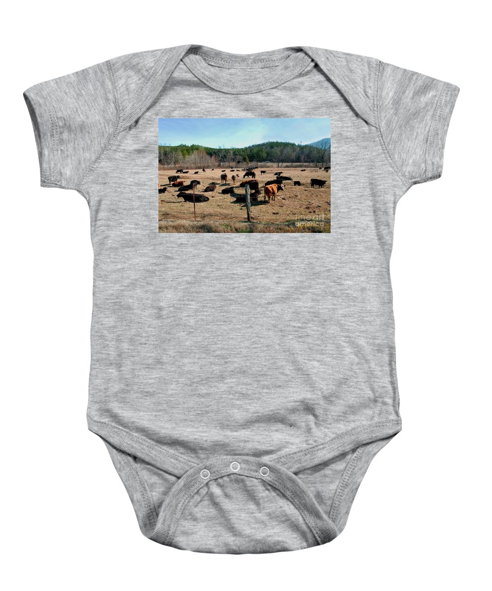 Pisgah National Forest Baby Onesie featuring the photograph Moos Looking At You Two by Jeff McJunkin