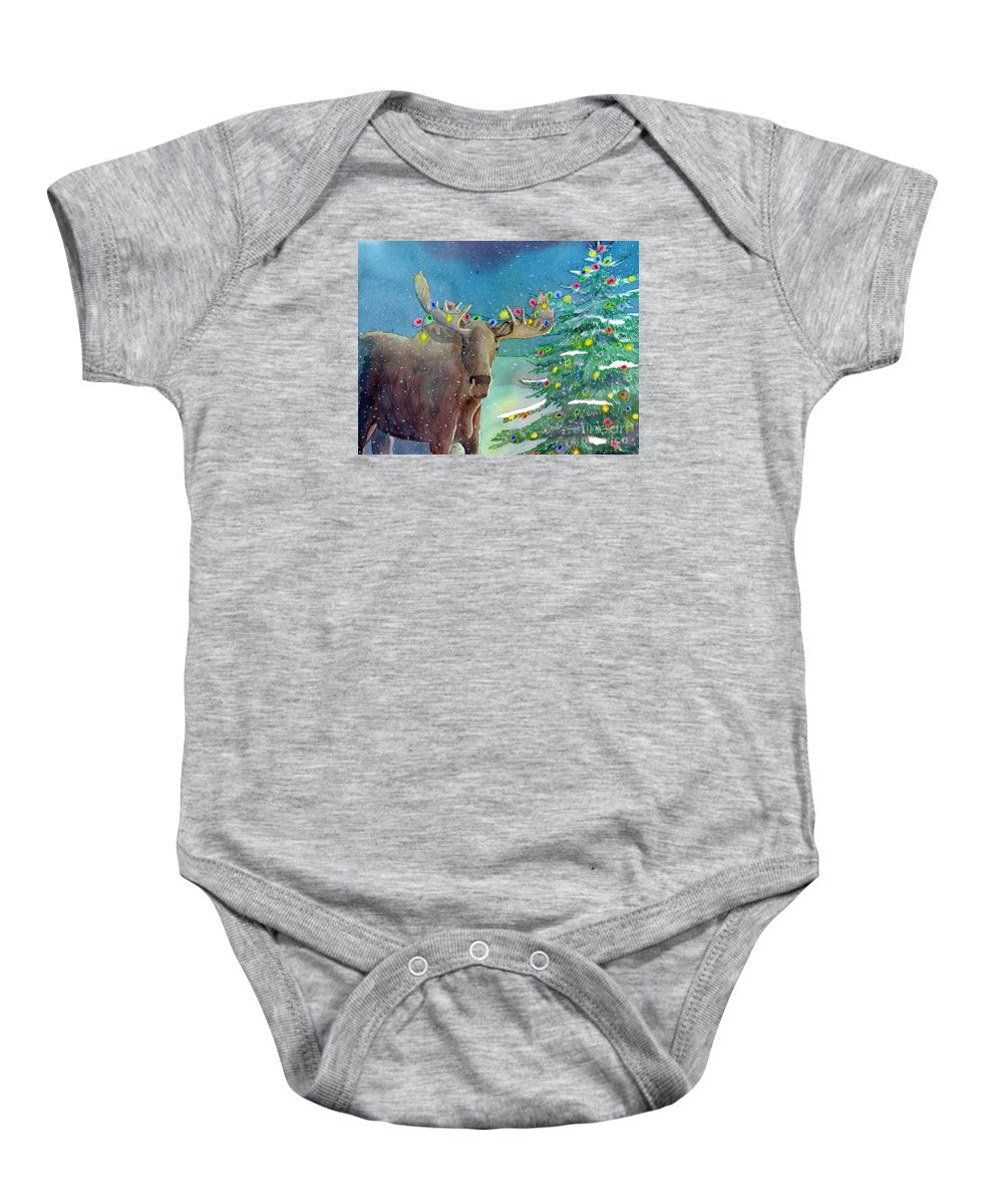 Moose Baby Onesie featuring the painting Moosey Christmas by LeAnne Sowa