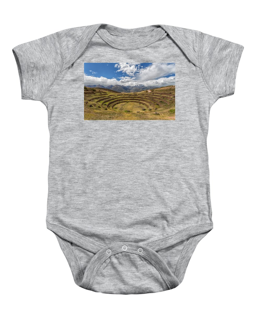 Moray Baby Onesie featuring the photograph Moray - Peru by Christian Tuk
