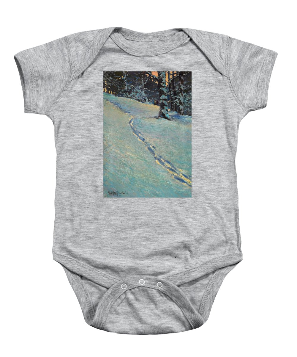 Painting Baby Onesie featuring the painting Morning After Snow by Mountain Dreams