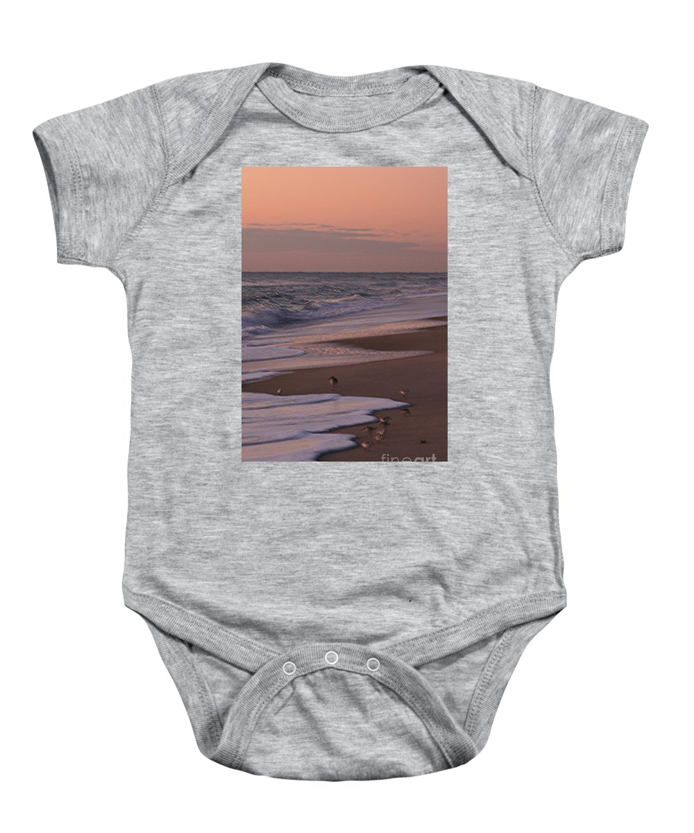 Beach Baby Onesie featuring the photograph Morning Birds At The Beach by Nadine Rippelmeyer