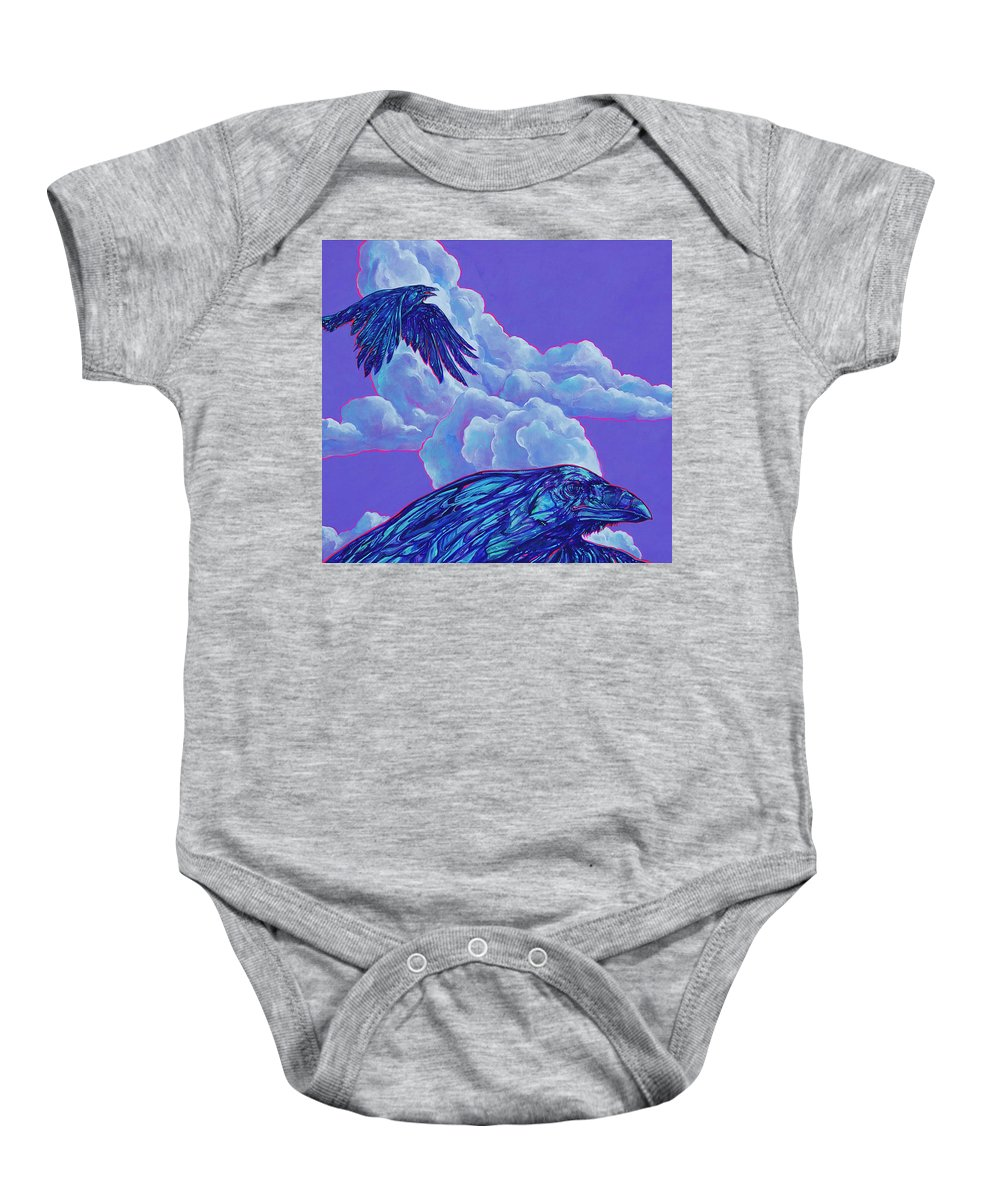 Bird Baby Onesie featuring the painting Morning Flight by Derrick Higgins
