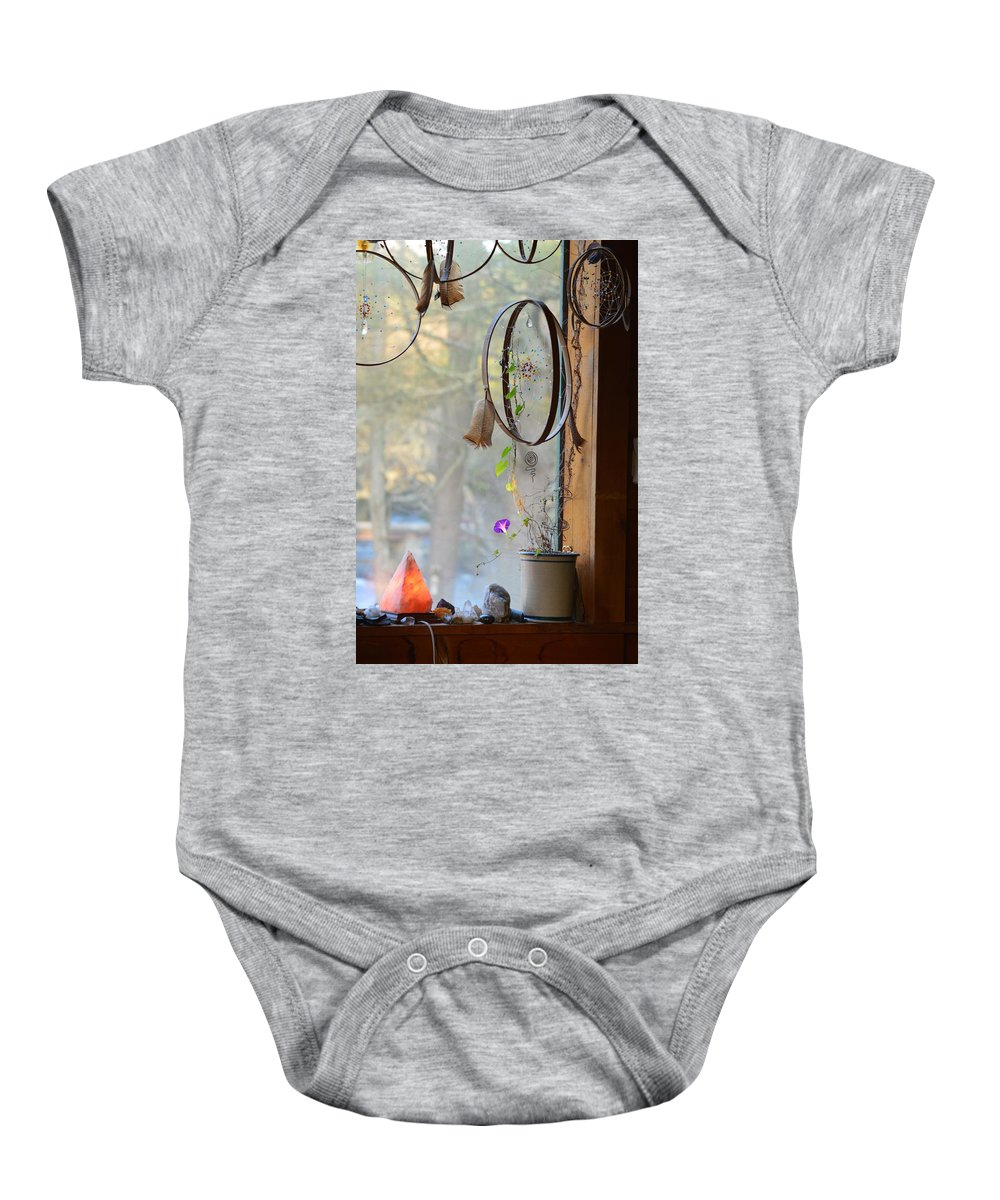 Dream Catcher Baby Onesie featuring the photograph Morning Glory Dreams by Thomas Phillips