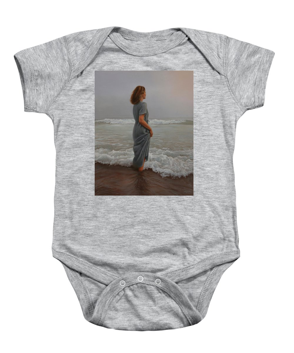 Realistic Baby Onesie featuring the painting Morning Mist by Holly Kallie