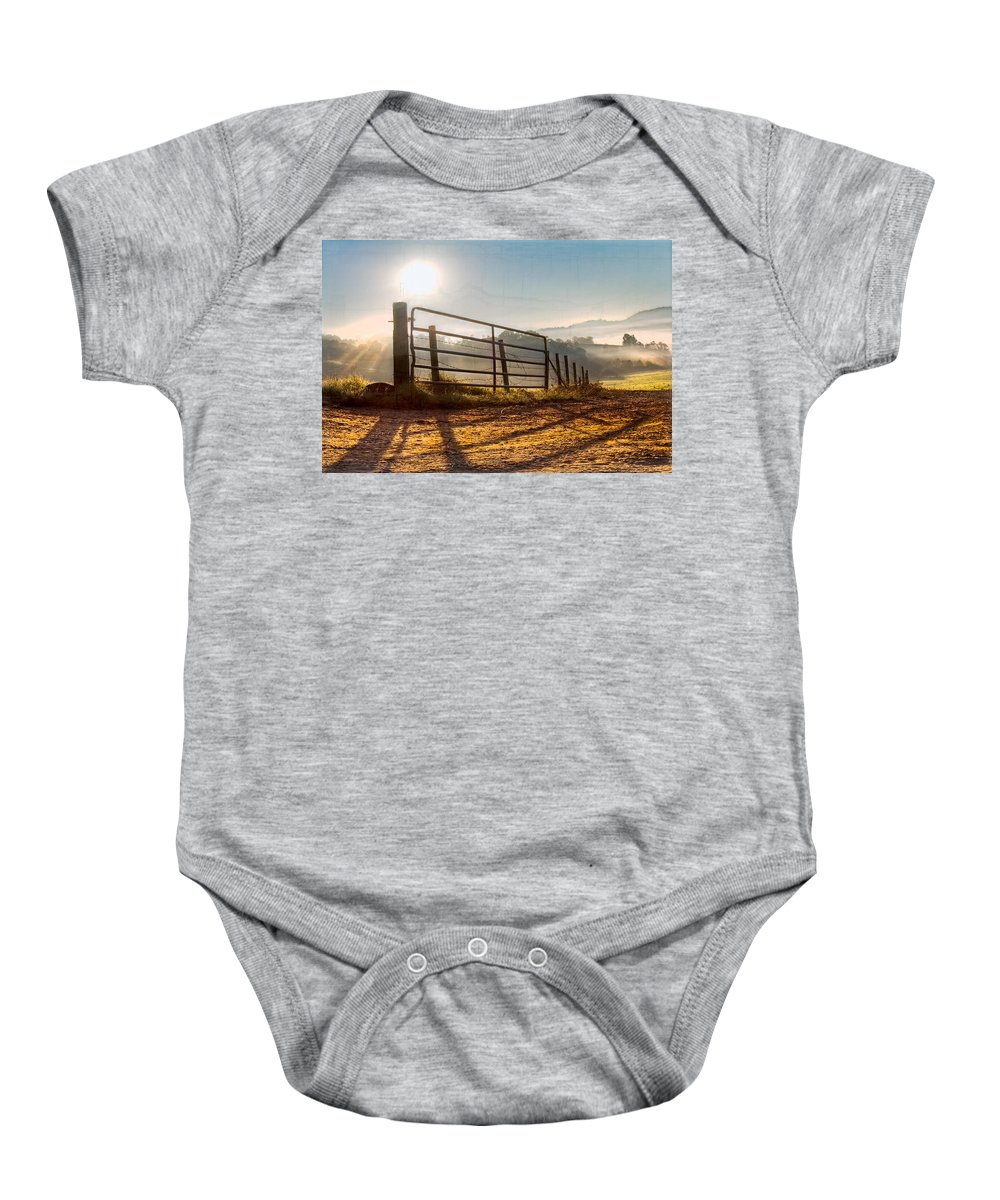 Appalachia Baby Onesie featuring the photograph Morning Shadows by Debra and Dave Vanderlaan