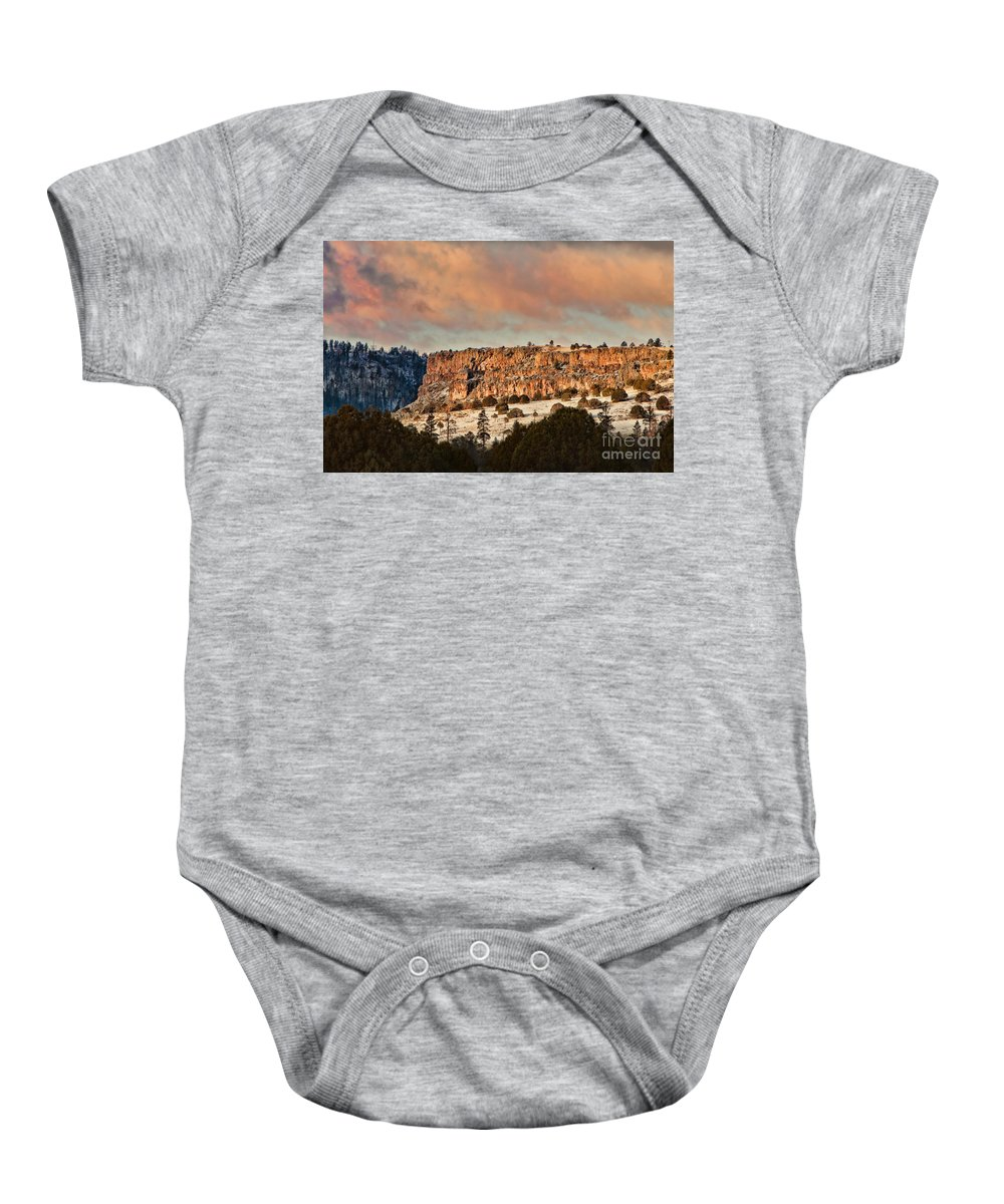 Beautiful Baby Onesie featuring the photograph Morning Sun On The Ridge by Donna Greene