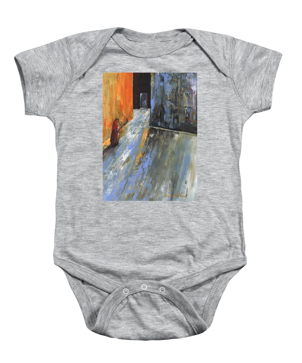 Morocco Baby Onesie featuring the painting Moroccan Woman 01 by Miki De Goodaboom