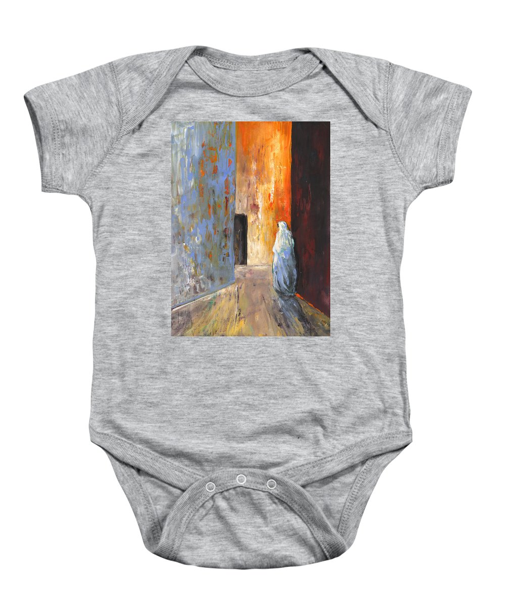 Travel Baby Onesie featuring the painting Moroccan Woman 02 by Miki De Goodaboom