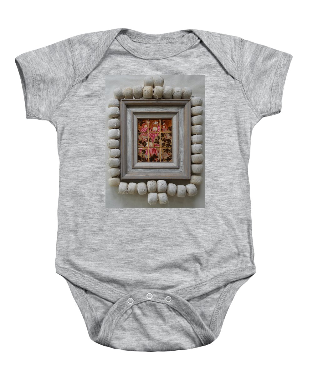 Abstract Outsider Quail Children Bible Religious Moses Israelites Folk Raw Baby Onesie featuring the painting Moses And The Quail - Framed by Nancy Mauerman