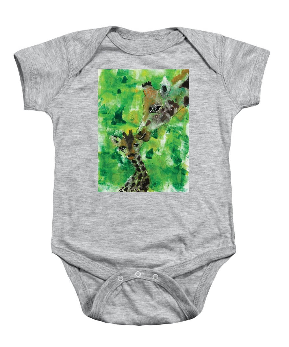 Giraffes Baby Onesie featuring the mixed media Motherly Love by Cori Solomon