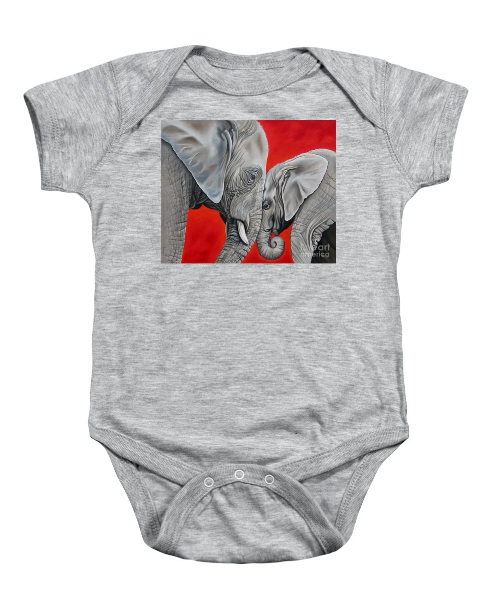 Elephant Baby Onesie featuring the painting Mothers Love by Ilse Kleyn