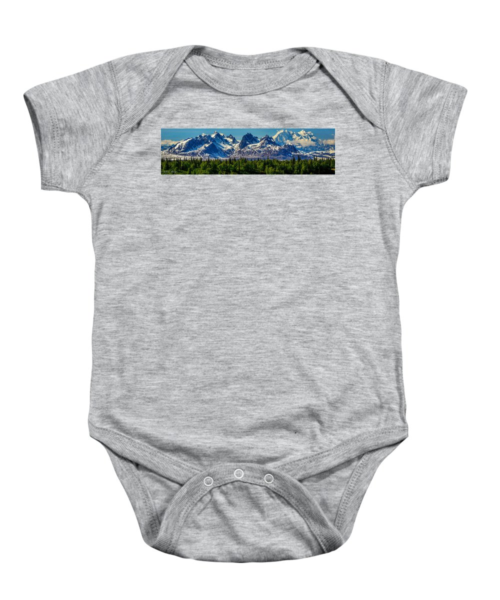 Mckinley Baby Onesie featuring the photograph Mount Foraker by Andrew Matwijec