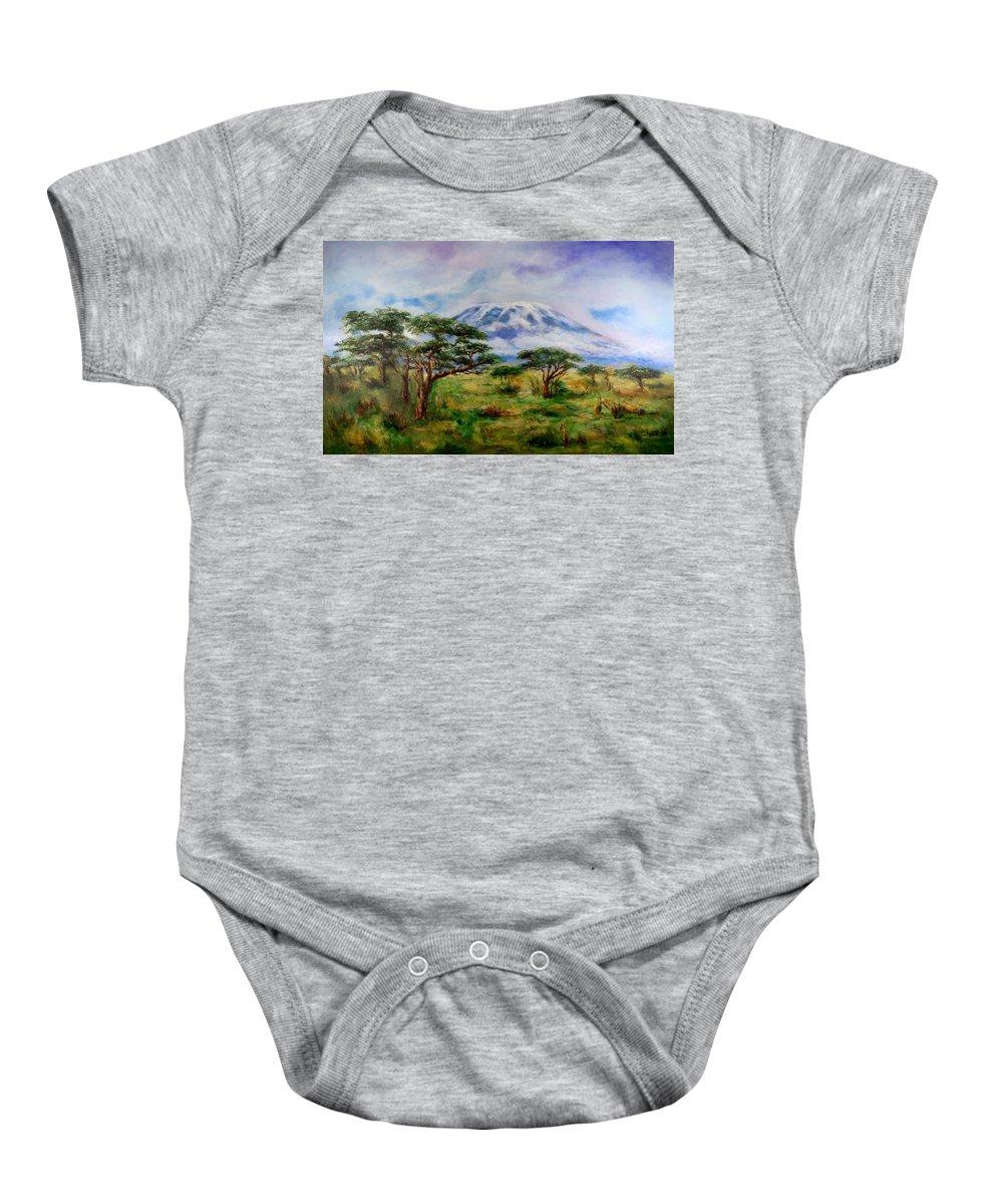 Mount Kilimanjaro Baby Onesie featuring the painting Mount Kilimanjaro Tanzania by Sher Nasser