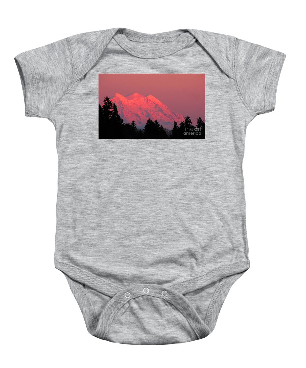 Landscape Baby Onesie featuring the photograph Mount Rainier by Ron Tackett