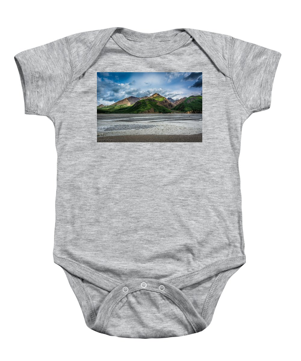 River Baby Onesie featuring the photograph Mountain Across The River by Andrew Matwijec