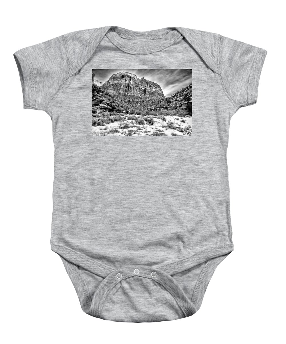 Landscape Baby Onesie featuring the photograph Mountain In Winter - Bw by Christopher Holmes