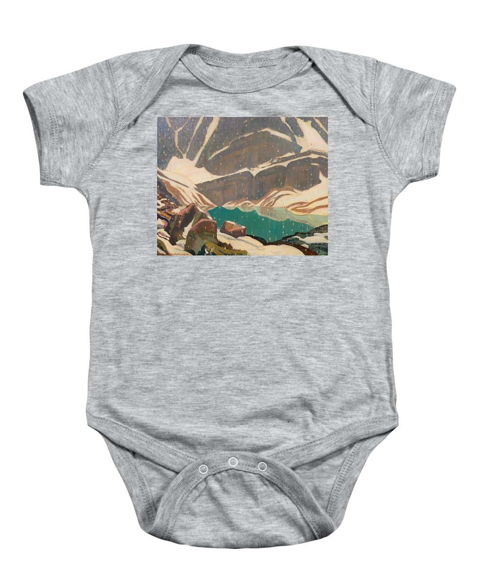 Painting Baby Onesie featuring the painting Mountain Solitude by Mountain Dreams