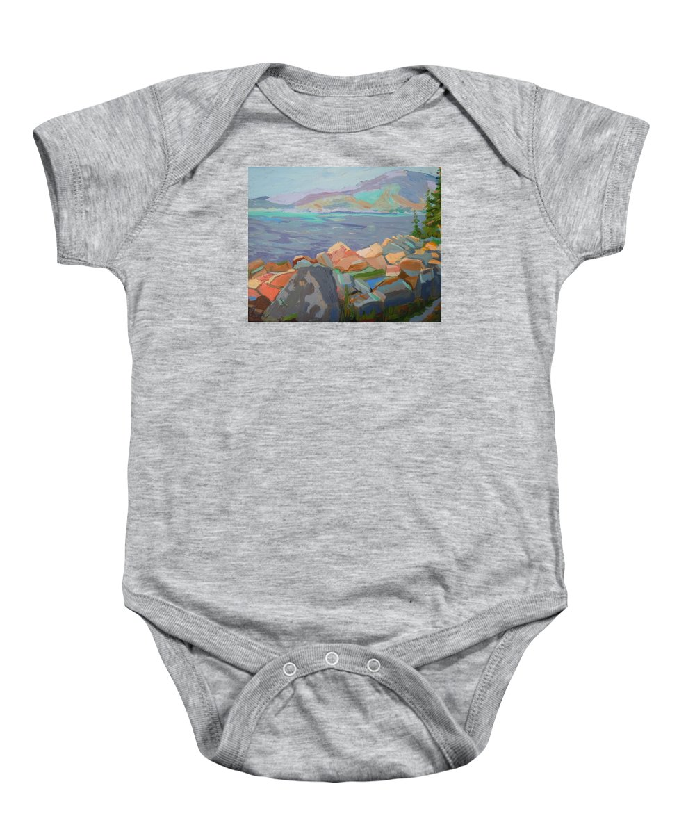 Landscape Baby Onesie featuring the painting Mt. Desert From Schoodic Point by Francine Frank