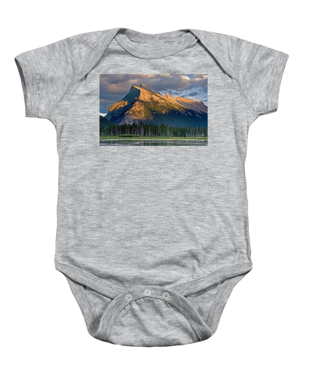 Mt Rundle Baby Onesie featuring the photograph Mt. Rundle Grandeur by Jerry Fornarotto