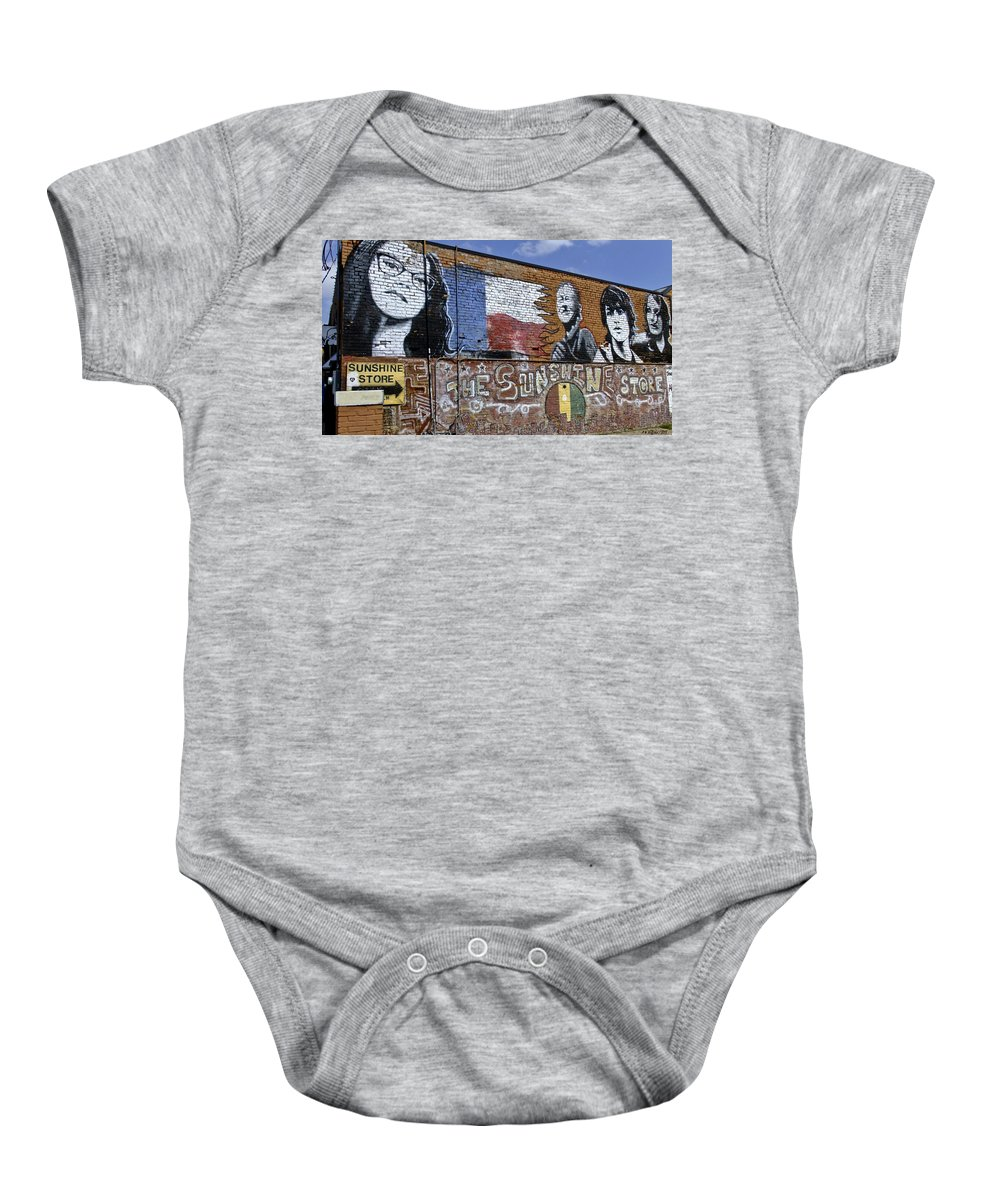 Street Scene Baby Onesie featuring the photograph Mural And Graffiti by Allen Sheffield