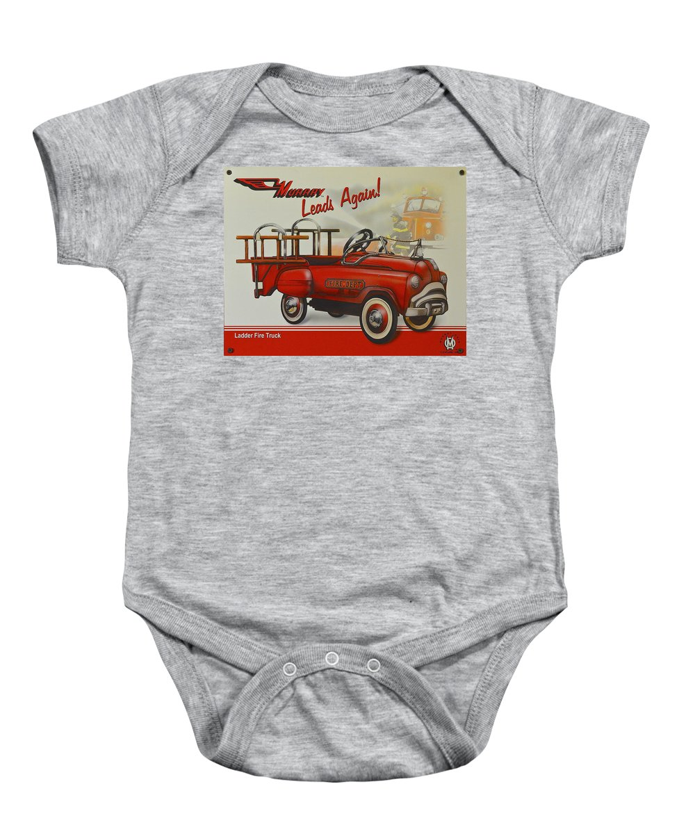Fire Baby Onesie featuring the photograph Murray Fire Truck by Frozen in Time Fine Art Photography