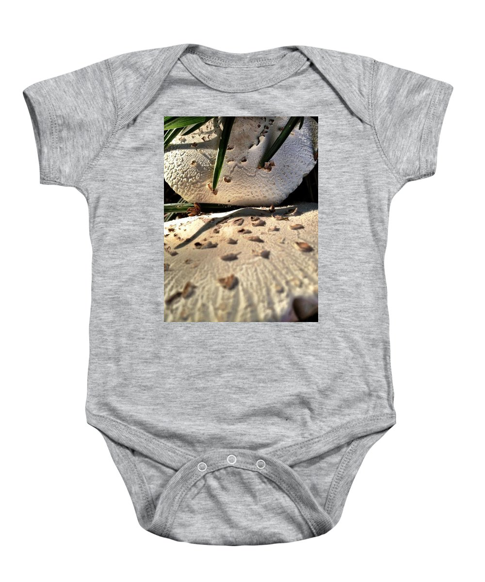 Mushrooms Baby Onesie featuring the photograph Mushrooms by Michele Monk