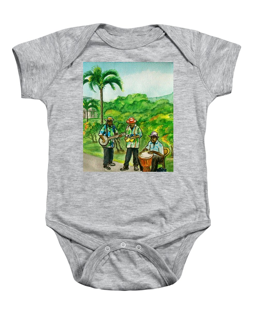 Grenada Island Caribbean Musicians Flowers Palm Car Baby Onesie featuring the painting Musicians On Island Of Grenada by Frank Hunter