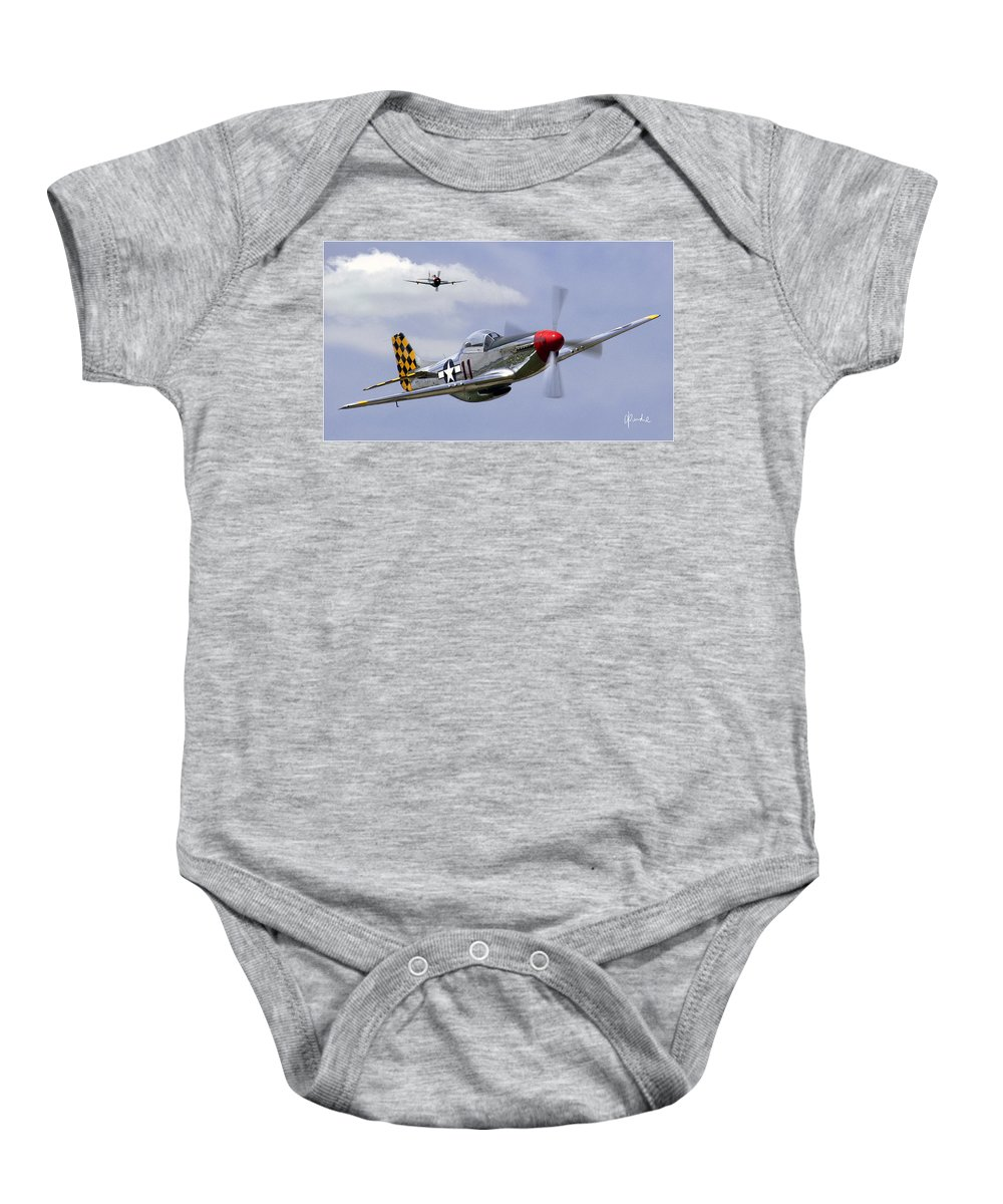 P 51 Baby Onesie featuring the photograph Mustang And Thunderbolt by Craig Purdie