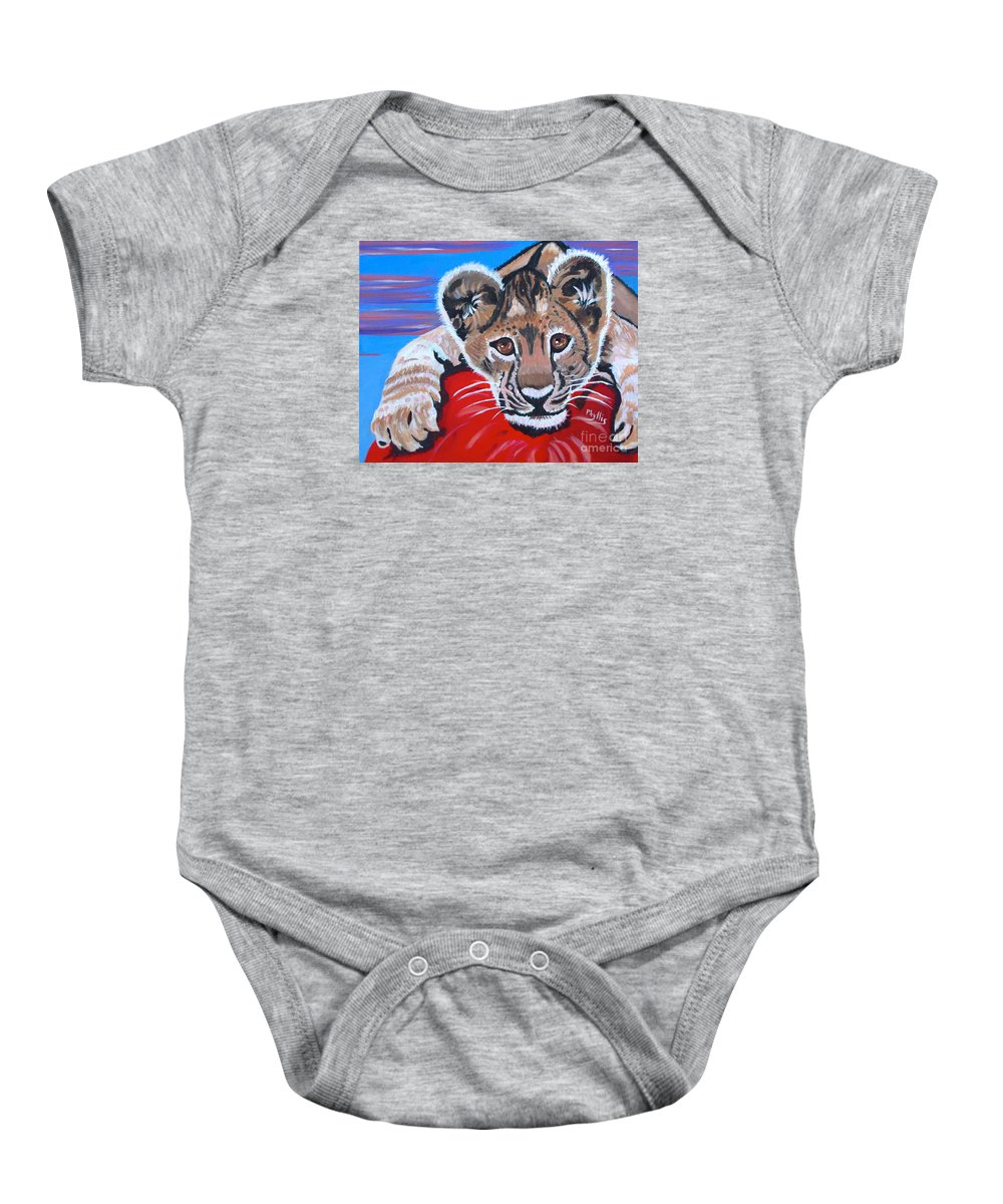 Lion Cub Baby Onesie featuring the painting My Ball by Phyllis Kaltenbach