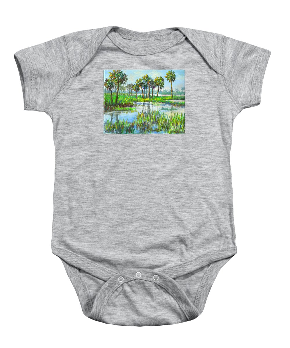Florida Baby Onesie featuring the painting Myakka Lake With Palms by Lou Ann Bagnall