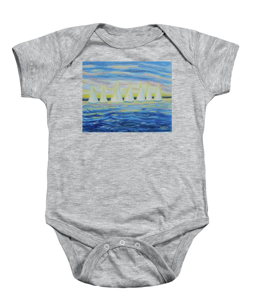 Nantucket Baby Onesie featuring the painting Nantucket Sunrise by Diane Pape