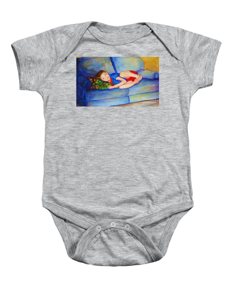 Nap Time Baby Onesie featuring the painting Nap Time by Jane Ricker