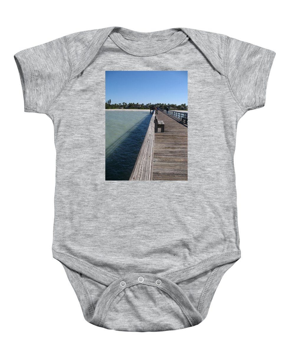 Beach Baby Onesie featuring the photograph Naples Historic Pier by Christiane Schulze Art And Photography