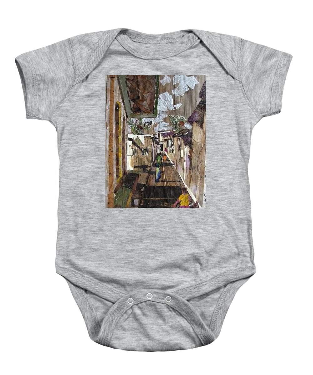 Street Scene Baby Onesie featuring the mixed media Narrow street by Basant Soni