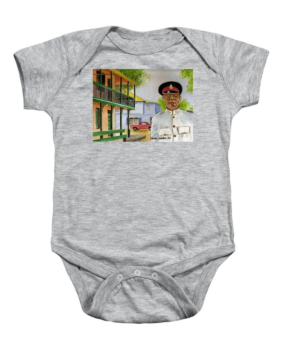 Nassau Bahamas Policeman Street Uniform Cap Balustrade Baby Onesie featuring the painting Nassau Bahamas Policeman by Frank Hunter