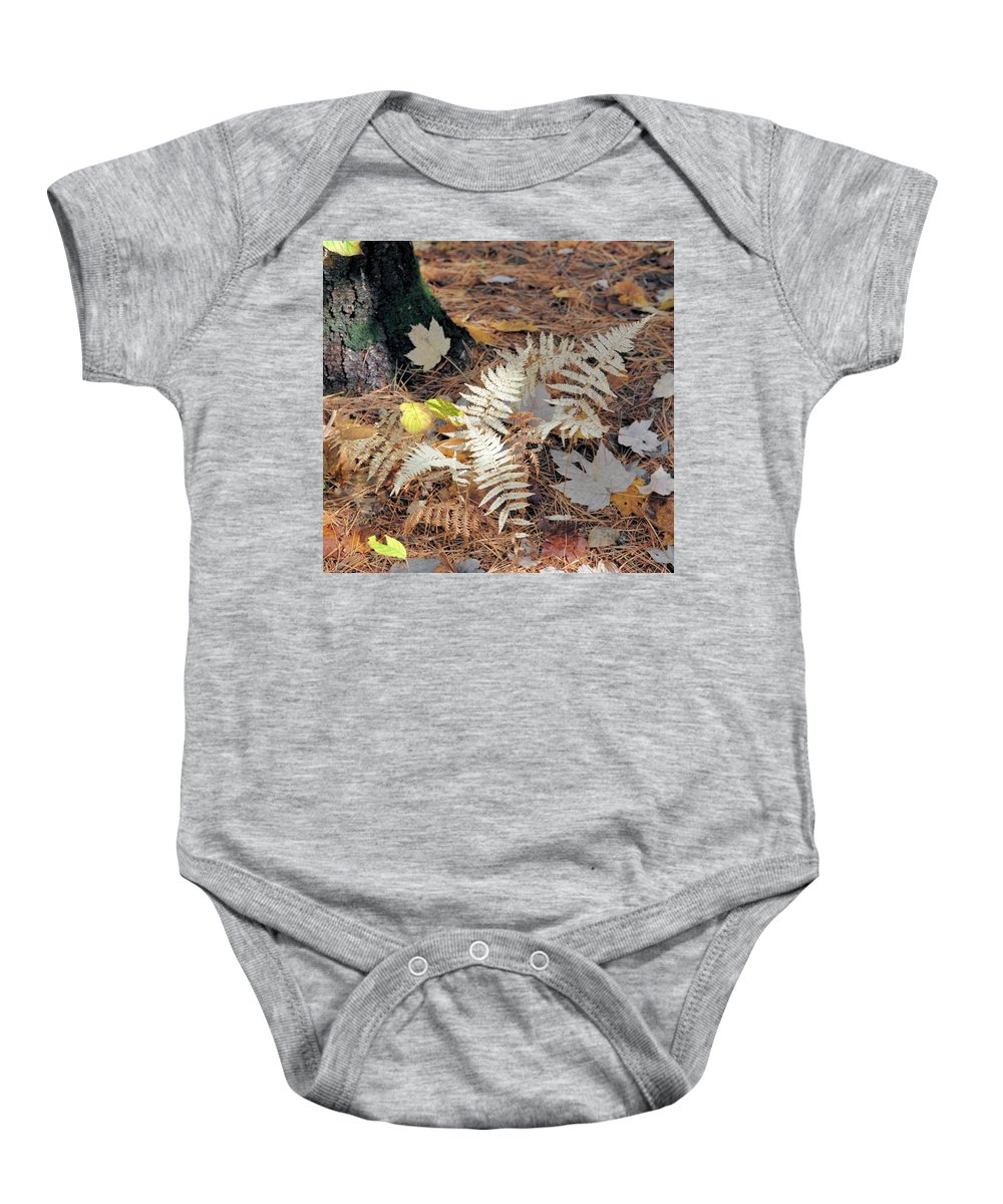 Fern Baby Onesie featuring the photograph Needles And Leaves by Valerie Kirkwood