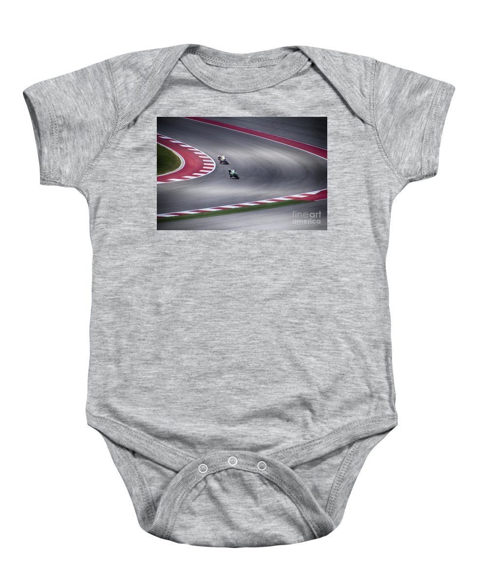 Motorcycle Baby Onesie featuring the photograph Negotiating The Corner by Douglas Barnard