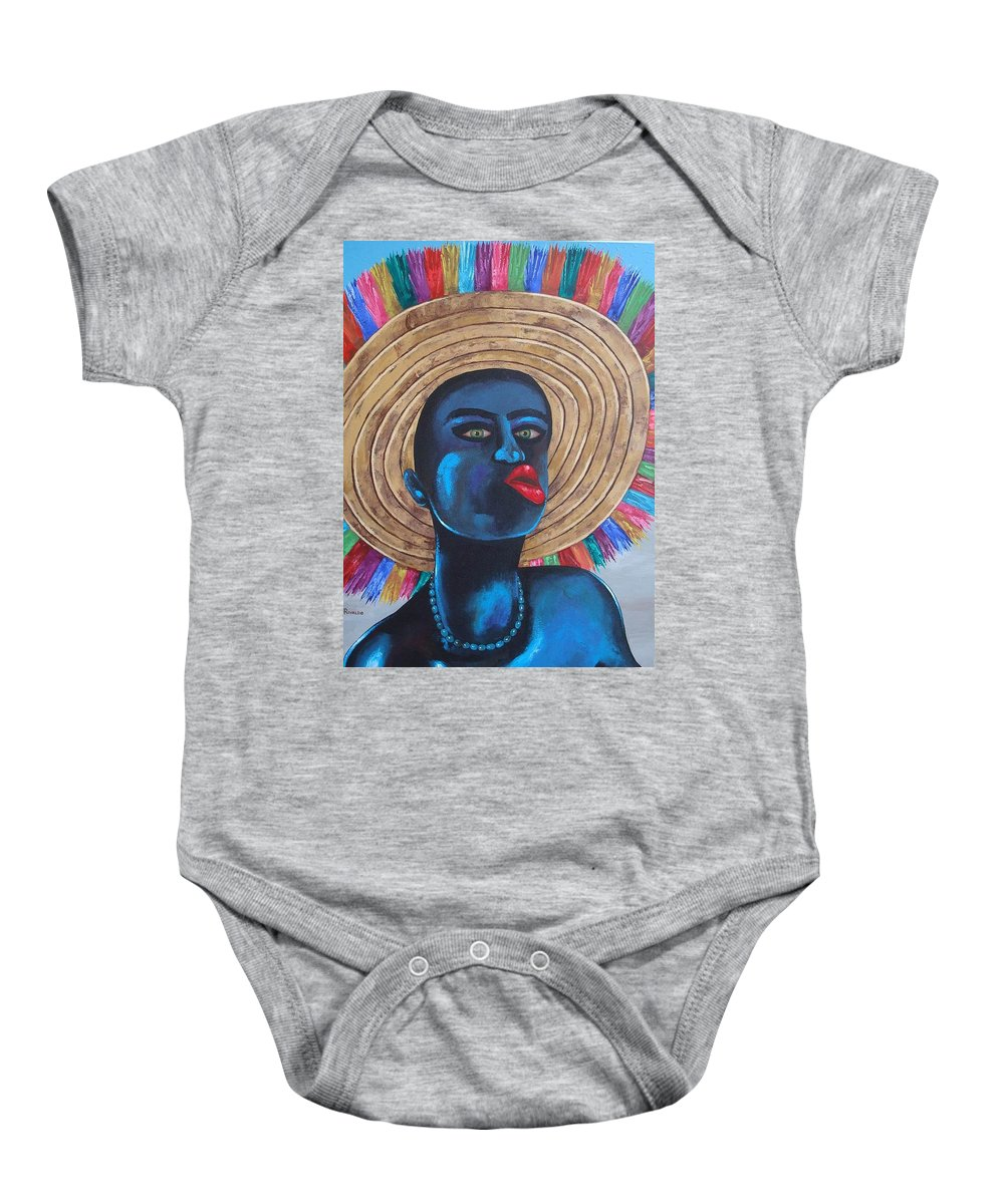 Carnival Baby Onesie featuring the painting Negrito In Carnival by Yaso Rivaldo