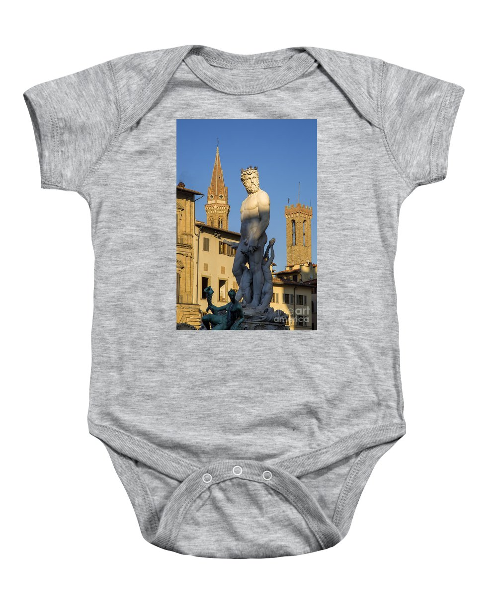 Art Baby Onesie featuring the photograph Neptune Statue - Florence by Brian Jannsen