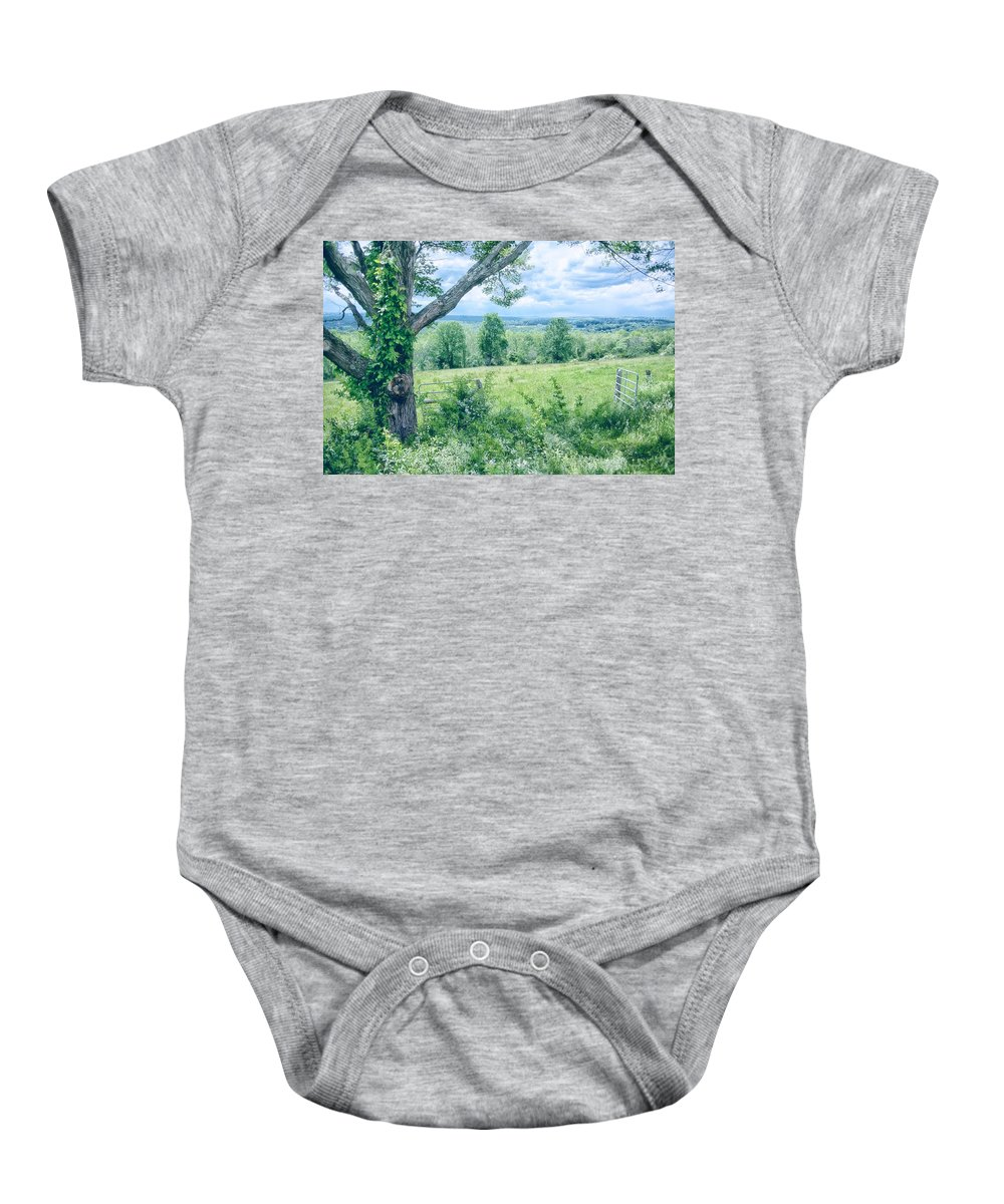 Landscape Baby Onesie featuring the photograph Never Ending Fields by Karol Livote