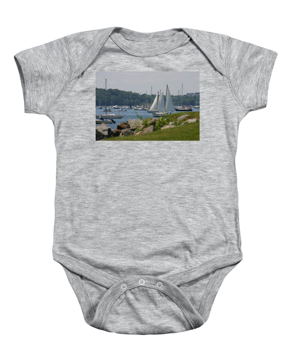 Boat Baby Onesie featuring the photograph New England Seascape by Denyse Duhaime