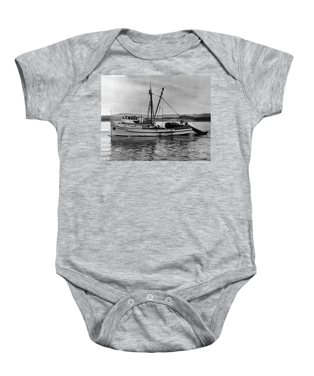 New Marretimo Baby Onesie featuring the photograph New Marretimo Purse Seiner Monterey Bay Circa 1947 by California Views Archives Mr Pat Hathaway Archives