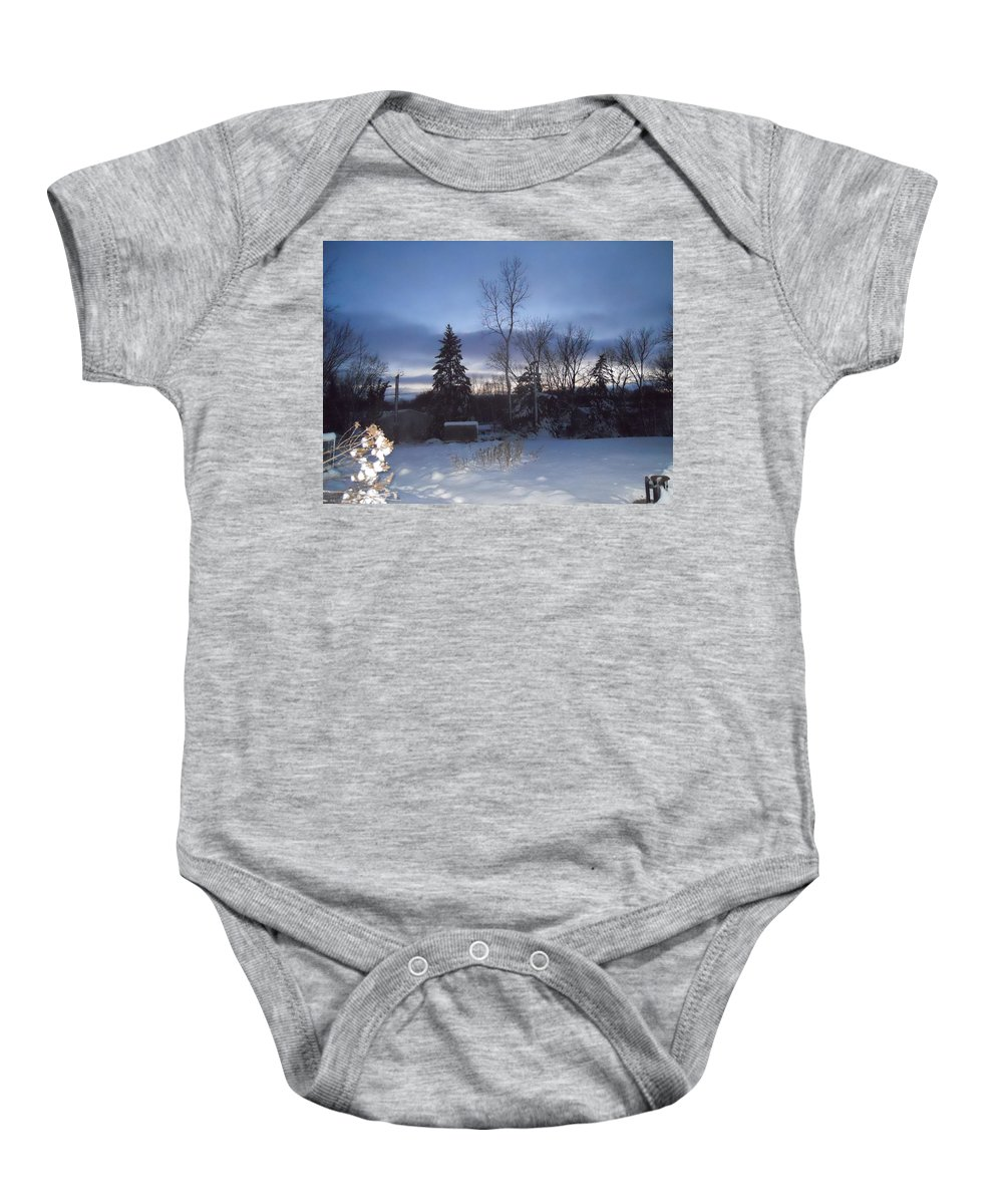 Snow Baby Onesie featuring the photograph New Year's Eve by Coleen Harty
