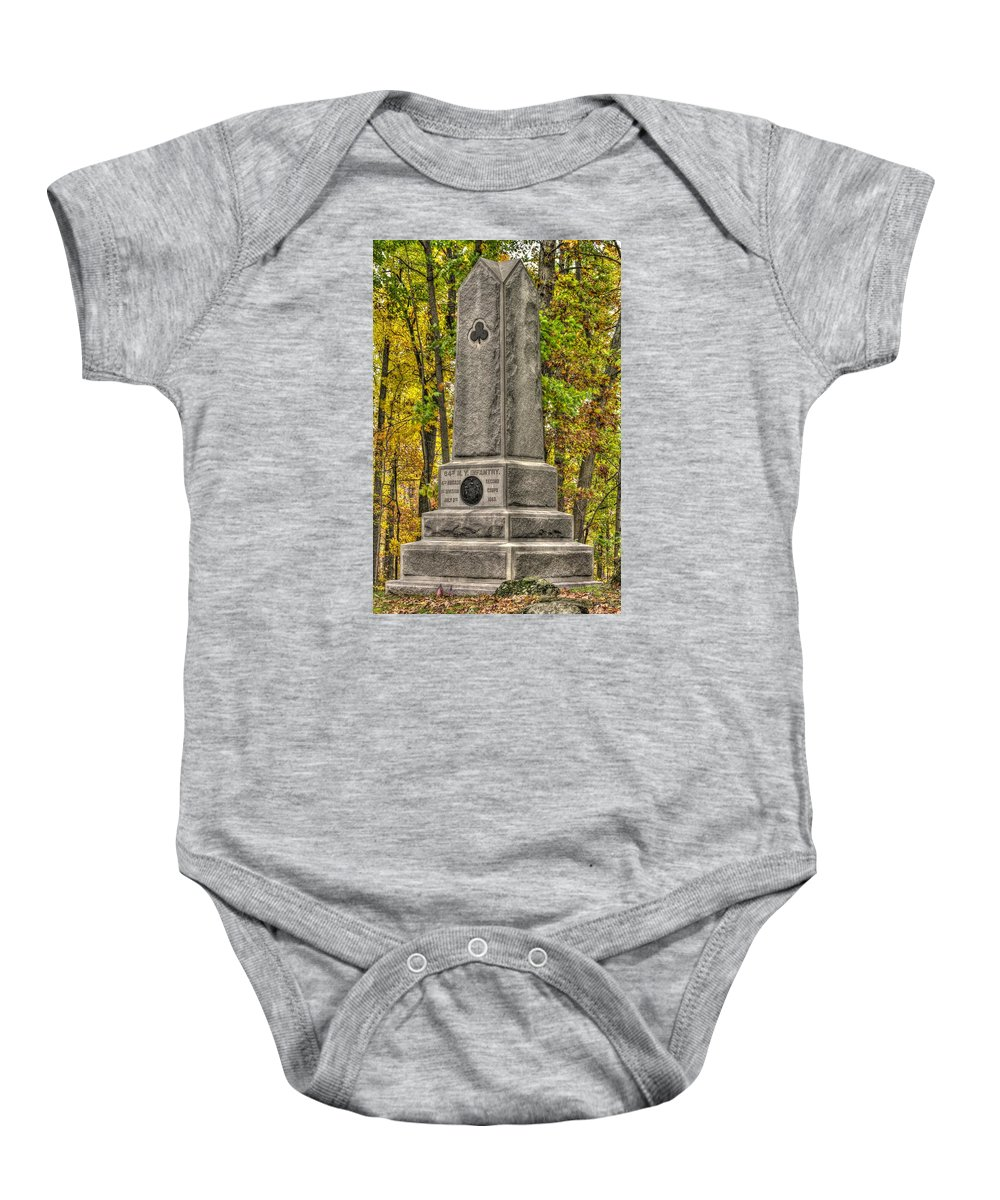 Civil War Baby Onesie featuring the photograph New York At Gettysburg - Monument To The 64th Ny Volunteer Infantry In The Rose Woods by Michael Mazaika